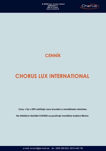 Cenník Gewiss Chorus Lux International - EL-Mont