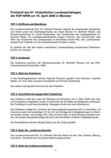 Protokoll des 61. Ordentlichen Landesparteitages der FDP-NRW am ...