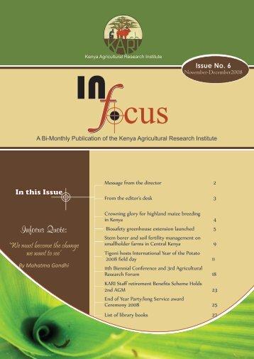 Issue No. 5 (September-October 2008) - Kenya Agricultural ...