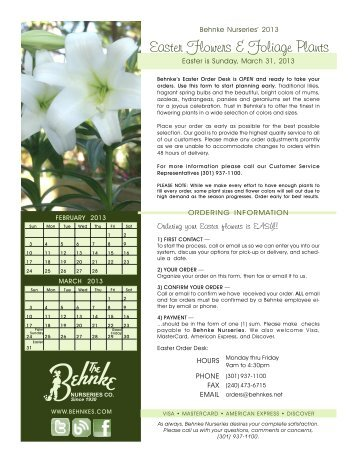 Easter Flowers & Foliage Plants - Behnke Nurseries