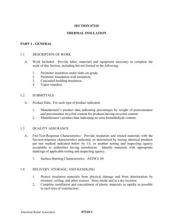 07210-1 SECTION 07210 THERMAL INSULATION PART 1 ...