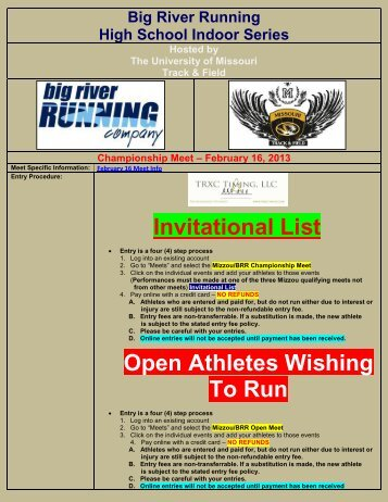Invitational List Open Athletes Wishing To Run - TRXC Timing