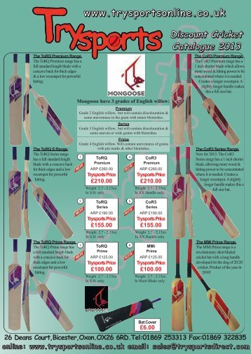 Download a pdf of our new 2013 season cricket ... - Trysports