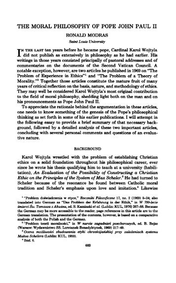 the moral philosophy of pope john paul ii - Theological Studies
