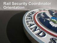 Rail Security Coordinator Orientation - Transportation Security ...