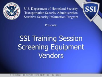 Sensitive Security Information - Transportation Security Administration
