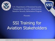 SSI Training for Aviation Stakeholders - Transportation Security ...