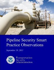 TSA Pipeline Security Smart Practice Observations - Transportation ...