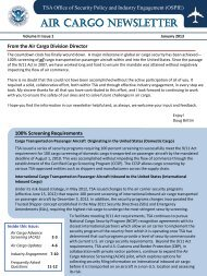AIR CARGO NEWSLETTER - Transportation Security Administration