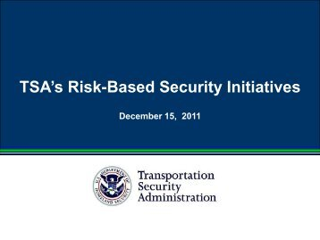 Risk-Based Security Brief - Transportation Security Administration