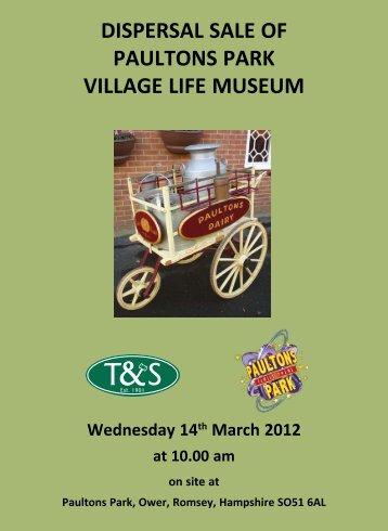 dispersal sale of paultons park village life museum - Thimbleby ...