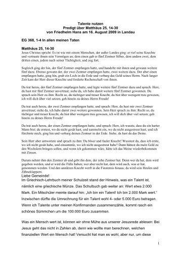Predigt am 16.08.2009 über Mathäus 25, 14 - Evangelische Kirche ...