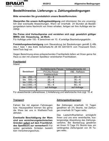 Allgemeine Geschäftsbedingungen - AGB - Braun Rollladen