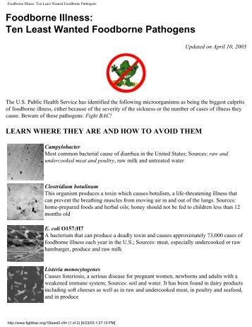Foodborne Illness: Ten Least Wanted Foodborne Pathogens