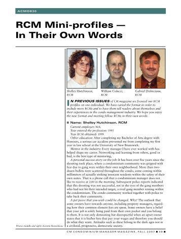 RCM Mini-profiles — In Their Own Words - Association of ...
