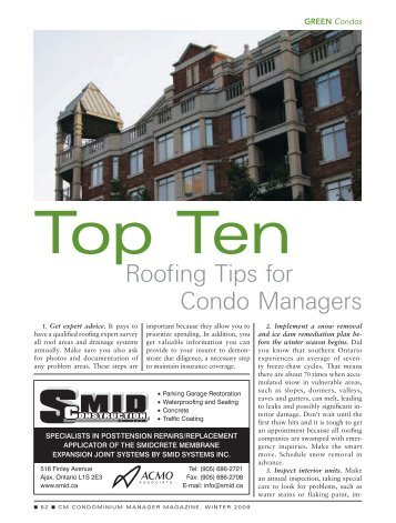 Top Ten Roofing Tips for Condominion Managers - Avenue Road ...