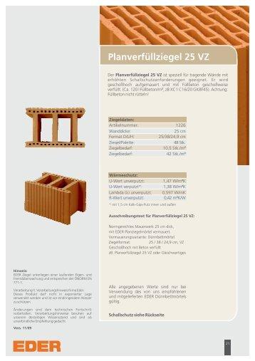 Planverfüllziegel 25 VZ - Ziegelwerk Eder GmbH & Co KG