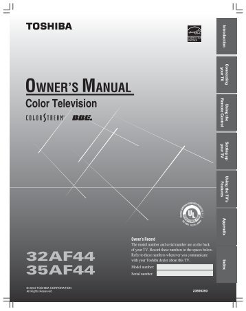 32af44 35af44 owner's manual