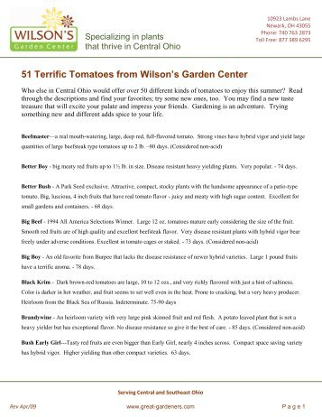 51 terrific tomatoes from wilsons garden center - Wilsons Garden Center