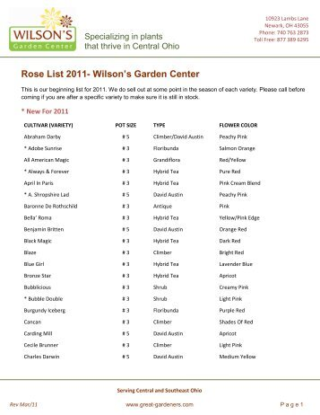 rose list 2011 wilsons garden center - Wilsons Garden Center