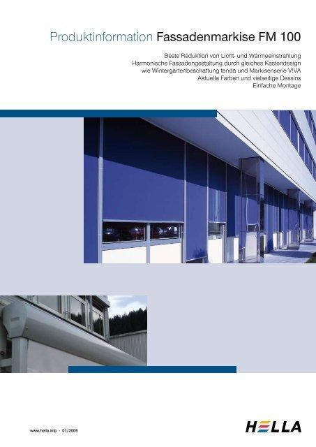Produktinformation Fassadenmarkise FM 100 - Hella Sonnen
