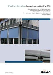 Produktinformation Fassadenmarkise FM 200 - Hella Sonnen