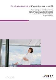 Produktinformation Kassettenmarkise S2 - Hella Sonnen
