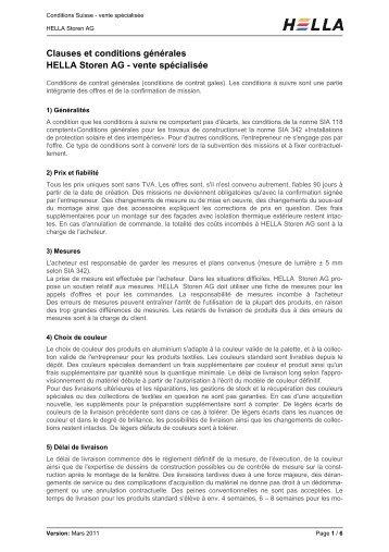 Clauses et conditions générales HELLA Storen AG - vente spécialisée