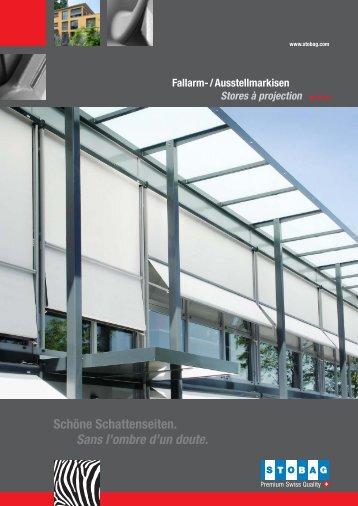 Fallarm-/Ausstellmarkisen / Stores à projection - Storencenter.ch