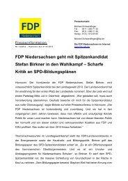 Scharfe Kritik an Spd-Bildungsplänen - FDP Niedersachsen