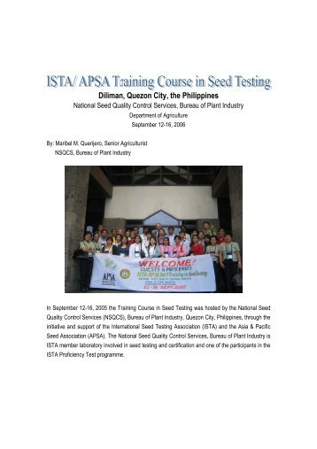 Diliman, Quezon City, the Philippines - International Seed Testing ...