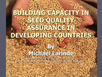 building capacity in seed quality assurance in developing countries