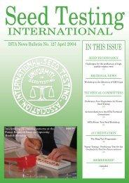 (ISTA News Bulletin) No. 127, April 2004 - International Seed ...