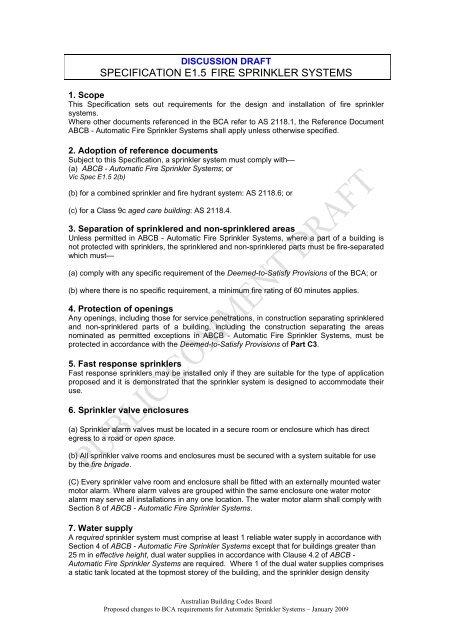 Draft Specification E1 5 Fire Sprinkler Systems Australian Building