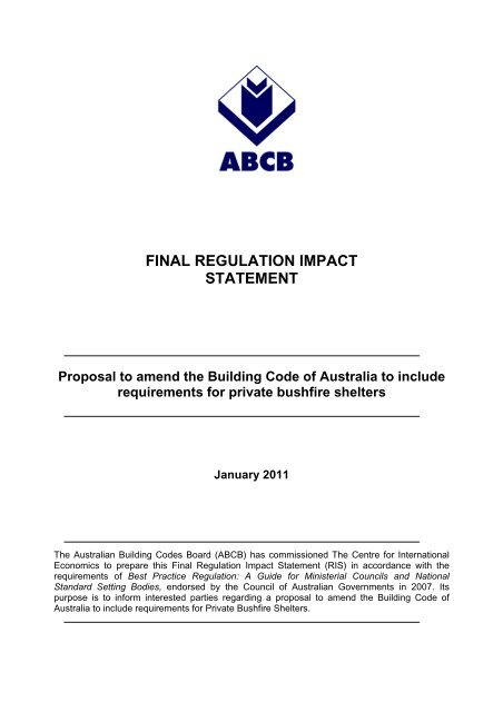 Final Decision RIS - Australian Building Codes Board