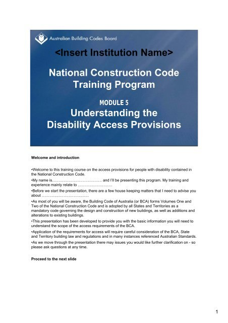 Understanding The Disability Access Provisions - Australian ...