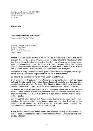 "Filmkritik ""Die fabelhafte Welt der Amelie"" - horn-netz.de"