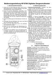 Bedienungsanleitung Multimeter HP-870K - Komerci oHG