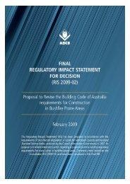 Final Regulatory Impact Statement (RIS 2009-02) - Australian ...