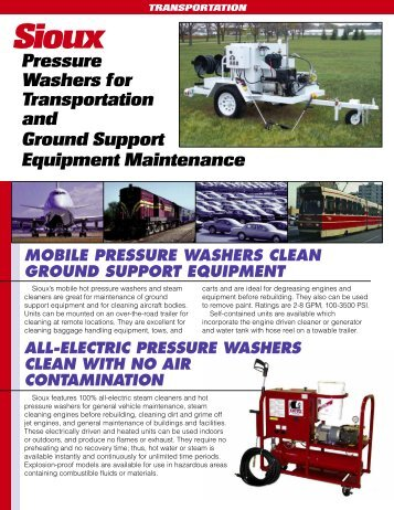 Transportation Application flyer - Sioux Steam Cleaner Corporation