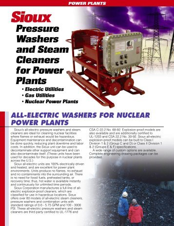 Utilities and Power Plant Application Flyer - Sioux Steam Cleaner ...
