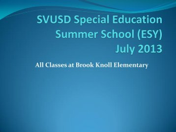 SVUSD Summer School (ESY) 2011 - 2012