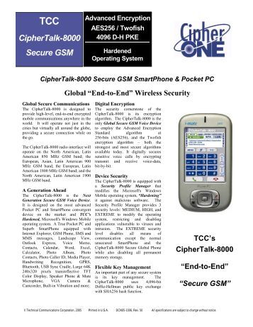 CipherTalk-8000 Product Brochure - Granite Island Group