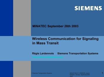 Wireless Communication for Signalling in Mass Transit - Tsd.org