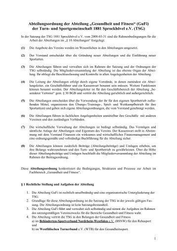 Abteilungsordnung der Abteilung - TSG 1881 Sprockhövel eV
