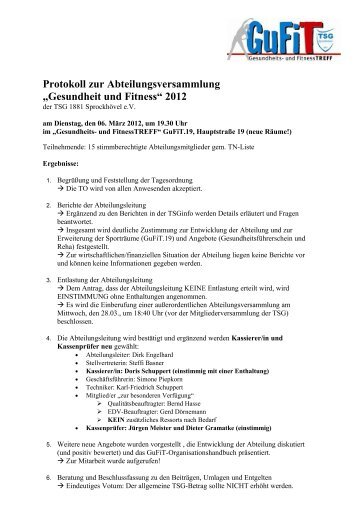 Einladung zur Abteilungsversammlung - TSG 1881 Sprockhövel eV