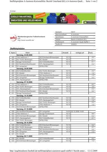 Seite 1 von 2 Staffelspielplan A-Junioren Kreisstaffeln: Bezirk ...