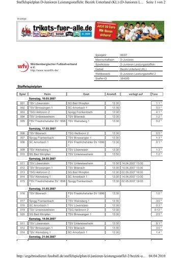 Seite 1 von 2 Staffelspielplan D-Junioren Leistungsstaffeln: Bezirk ...