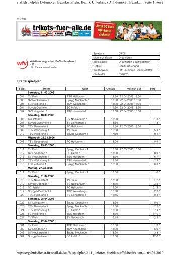 Seite 1 von 2 Staffelspielplan D-Junioren Bezirksstaffeln: Bezirk ...