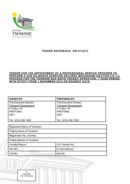 tender reference: cb151/2012 tender for the appointment of a
